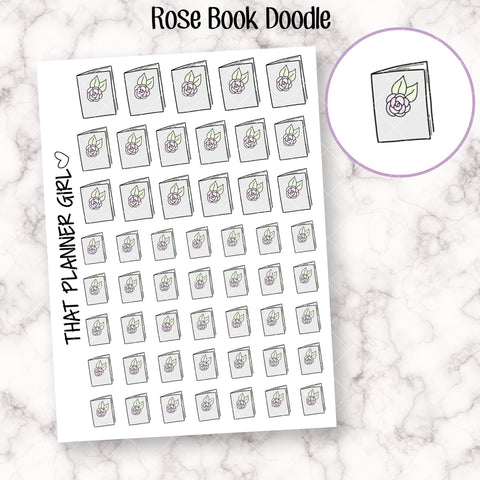 Rose Book Doodle Icons - Grey - Mark reading, current book, bookish tracking - Planner Stickers for TN or Kikki k- Hand Drawn Doodles