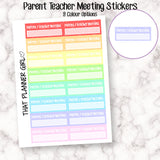 Parent / Teacher Meeting Stickers - Perfect for parents / Teachers / Temps / Subs -  Planner Stickers - Comes in 9 options!