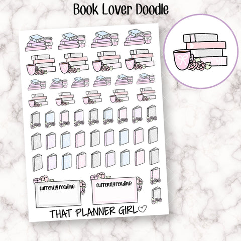 Book Lover Mixed Sticker Sheet - Mark reading, current book, bookish tracking with coffee or tea -Planner Stickers - Hand Drawn Doodles!
