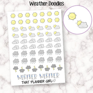 Weather Doodle Planner Stickers - Mark down the weather with these super cute Hand Drawn Doodles!