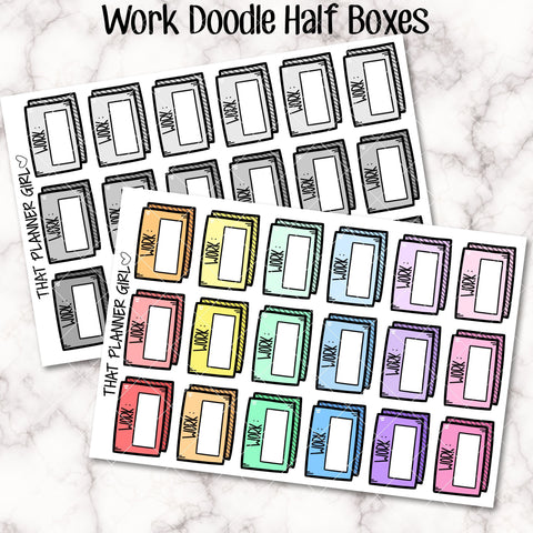 Work Doodle Half Box - Mark work hours or work days - Mark school days or college classes - Planner Stickers - Hand Drawn Doodles!
