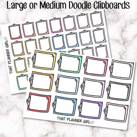 Clipboard Doodle Large Sticker - Cute stickers to mark study time / class /uni / school / meetings /college - Planner Stickers - Hand Drawn!