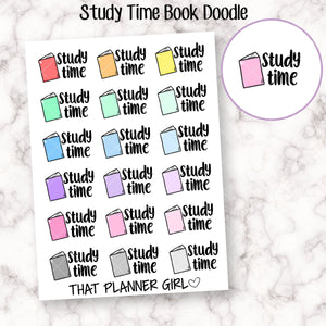 Study Time Book Doodle Stickers