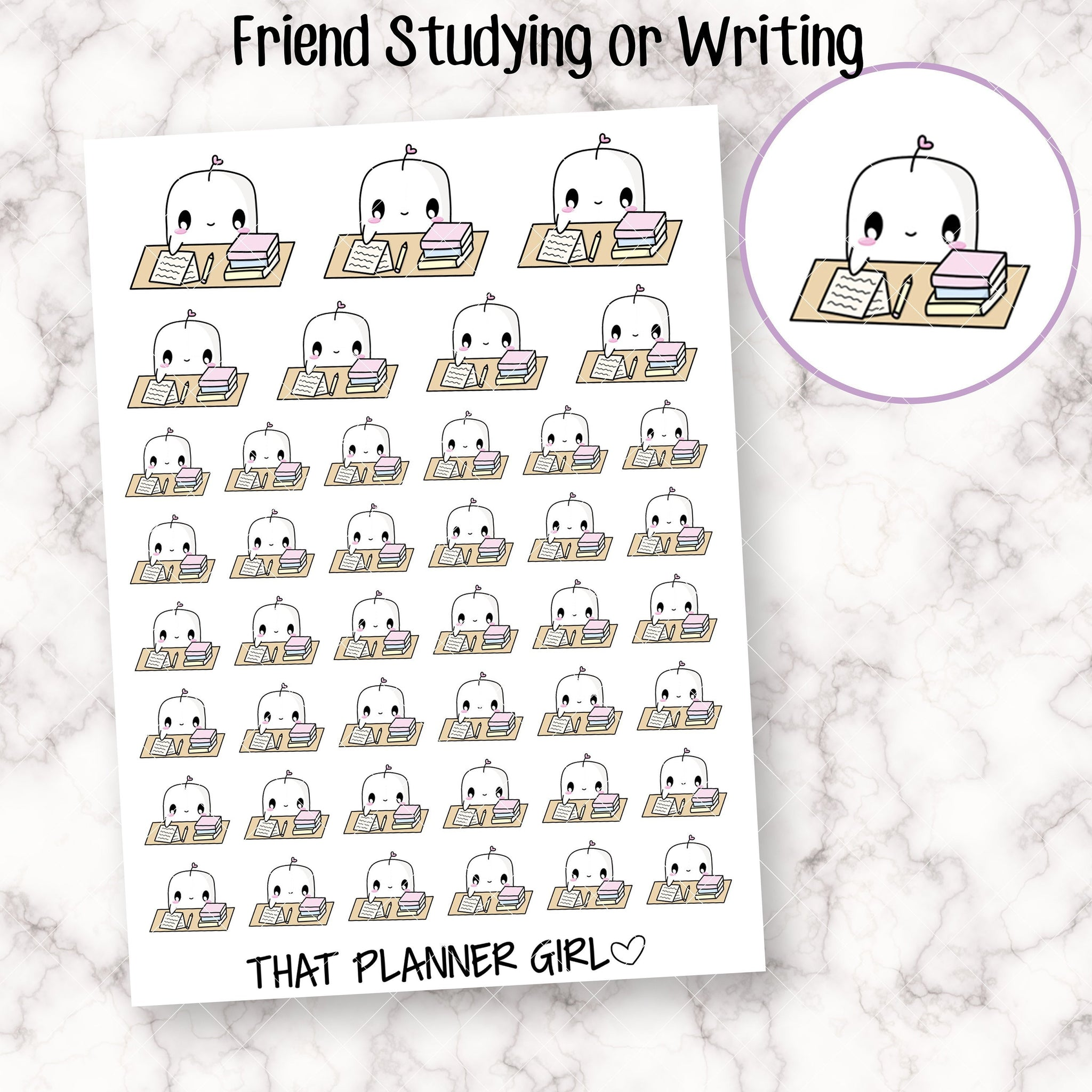 Friend Studying or Writing Stickers