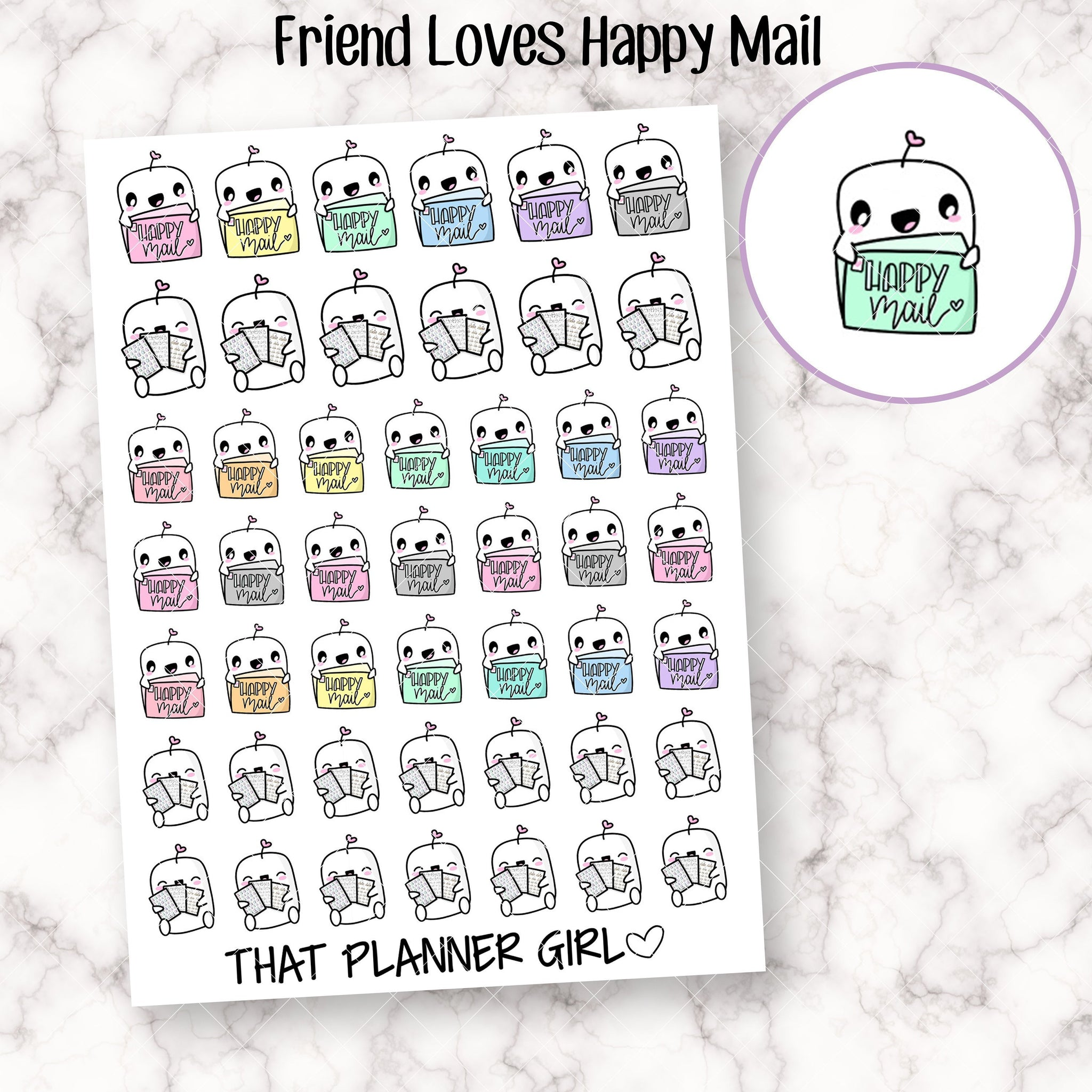 Friend with Happy Mail Stickers