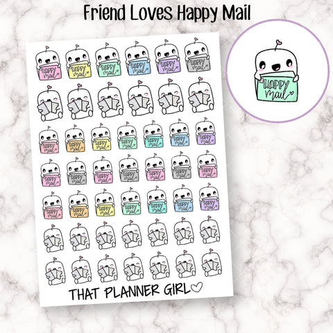 Friend with Happy Mail Stickers - Perfect for marking sticker orders, buying stickers, mail arriving, posting mail - Hand Drawn Doodles!