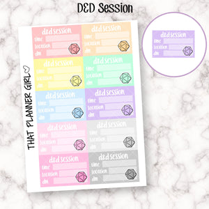 D&D Session Half Box Stickers - Dungeons and Dragons