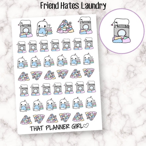 Friend Hates Laundry - Cute hand drawn original character sticker! Friend doing washing / folding / put away! Planner Stickers - Hand Drawn