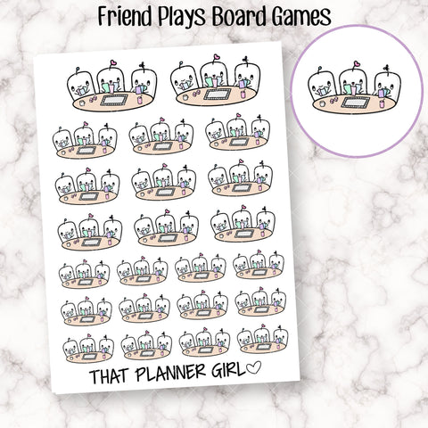 Friend Plays Board Game Stickers