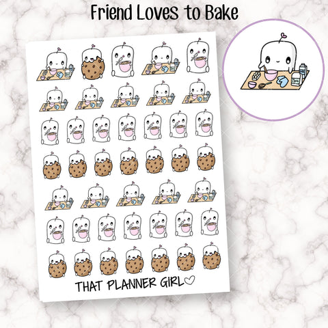Friend loves to Bake! - Baking, cooking, cookies, bake cake, kitchen, friend in the kitchen! - Planner Stickers - Hand Drawn Doodles!
