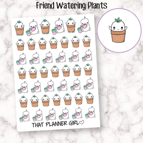 Friend Watering Plants - Care for your plants and remember to water them! - Planner Stickers - Hand Drawn Doodles!