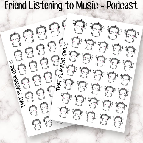 Friend listening to Podcast or Music - Mark listening to audio books, music, podcasts etc - Planner Stickers - Hand Drawn Doodles!