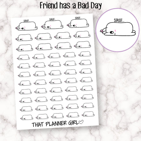 Friend has a Bad Day - Perfect for marking rough, long or busy days - Nope Not Today- Planner Stickers - Hand Drawn Doodles!