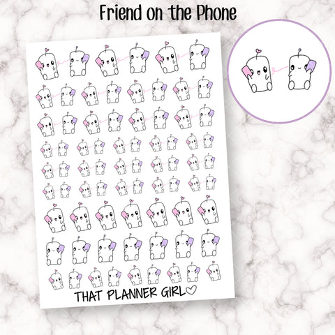 Friend on the Phone - Perfect for marking facetime, long distance relationships, phone calls, on the phone etc - Hand Drawn Doodles!