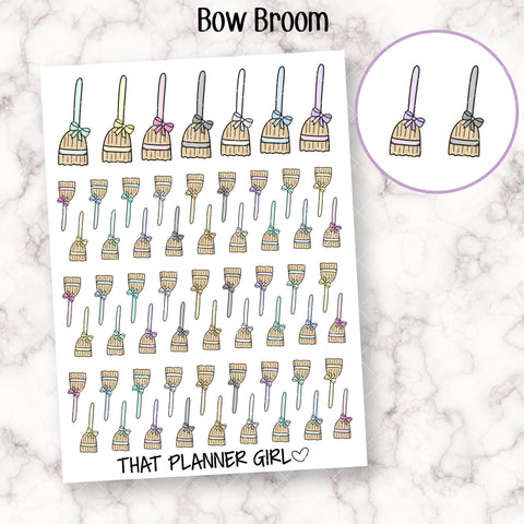 Bow Broom Doodle - Perfect for marking sweeping, cleaning, tidying, chores, vacuuming, etc - Planner Stickers - Hand Drawn Doodles!