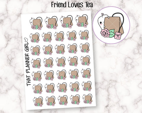 Friend Loves Tea - Cute hand drawn original character sticker! Friend with Tea Bag - Planner Stickers - Hand Drawn - perfect for Hobo!