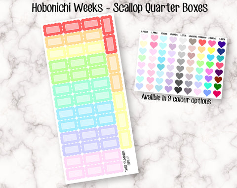Scallop Quarter Boxes - Hobonichi Sized (2.1cm x 1.26cm)
