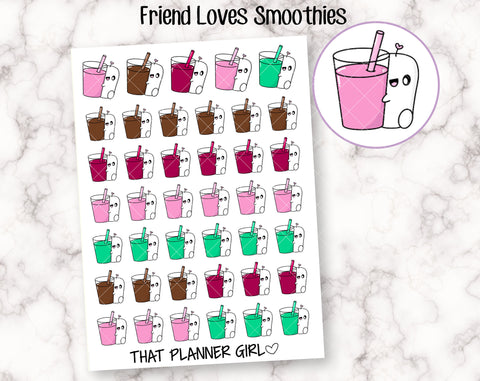 Friend Loves Smoothies - Cute hand drawn original character sticker! Friend with healthy smoothie or shake! Planner Stickers - Hand Drawn