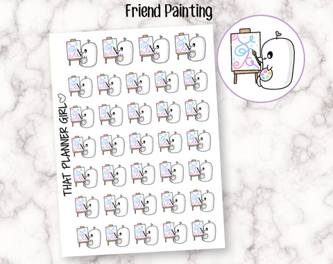 Friend Painting - Cute hand drawn original character sticker! Painting, crafting, drawing, creating etc - Planner Stickers - Hand Drawn