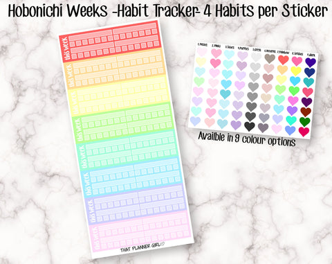 Habit Trackers - Hobonichi Sized - 4 Habit per Sticker - Perfect for use in the Hobonichi Weeks planner - comes in 9 colour options