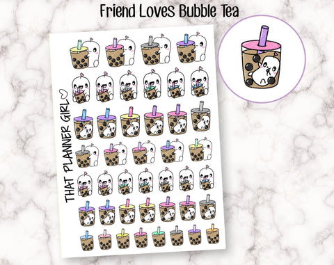 Friend Loves Bubble Tea - Cute hand drawn original character sticker! Friend with Boba! Planner Stickers - Hand Drawn - perfect for Hobo!