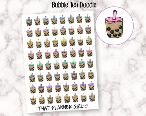 Bubble Tea Doodle - Boba Stickers - Planner Stickers - Cute hand drawn original sticker - Hand Drawn - perfect for Hobo or small planner!