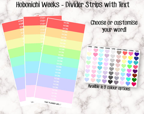 Thin Dividers with Text - Hobonichi Sized (8.28cm x .5cm) - Perfect for use in the Hobonichi Weeks planner - comes in 9 colour options
