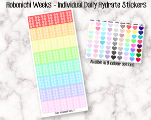 Hydrate Daily Tracker - Hobonichi Sized (2.1cm x 1cm) - perfect for tracking water intake daily - Healthy Tracker- Comes in 9 colour options