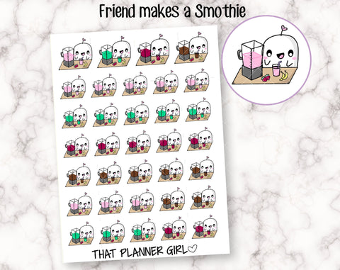 Friend Makes a Smoothie - Cute hand drawn original character sticker! Friend with healthy smoothie blender! Planner Stickers - Hand Drawn