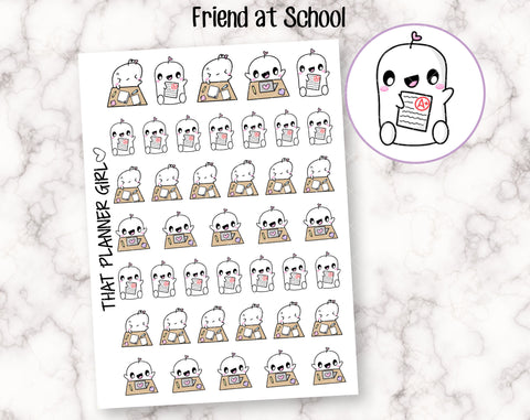 Friend at School - Cute hand drawn original character sticker! Study, school, assignment, uni, college - Planner Stickers - Hand Drawn