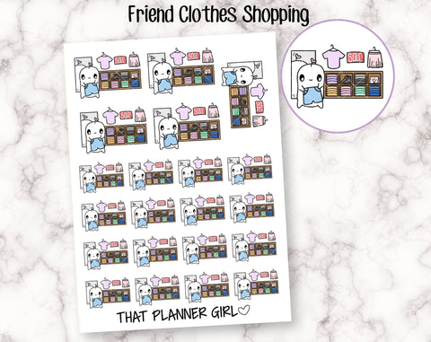Friend Clothes Shopping - Cute hand drawn original character sticker! Shopping spree, new clothes, shopping - Planner Stickers - Hand Drawn