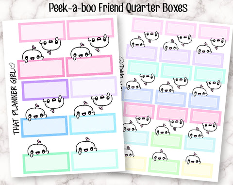 Friend Peek-a-boo Quarter Boxes - Cute hand drawn original character sticker! Events, reminders, activities - Planner Stickers - Hand Drawn
