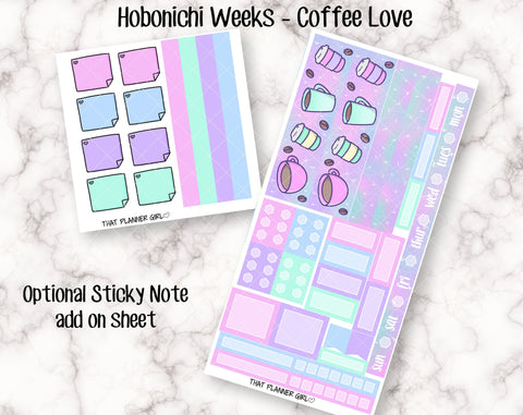 Coffee Love - Hobonichi Weeks Kit - Cute hand drawn original stickers! Optional sticky note add on - Hobo Planner Stickers - Hand Drawn
