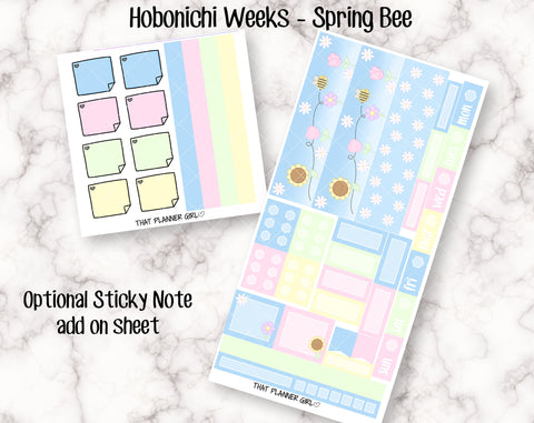 Spring Bee - Hobonichi Weeks Kit - Cute hand drawn original stickers! Optional sticky note add on - Hobo Planner Stickers - Hand Drawn