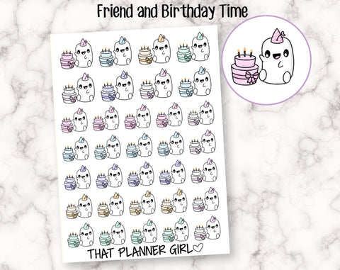 Friend and Birthday Time - Perfect for marking birthdays, birthday parties, celebrations, cake etc - Planner Stickers - Hand Drawn Doodles