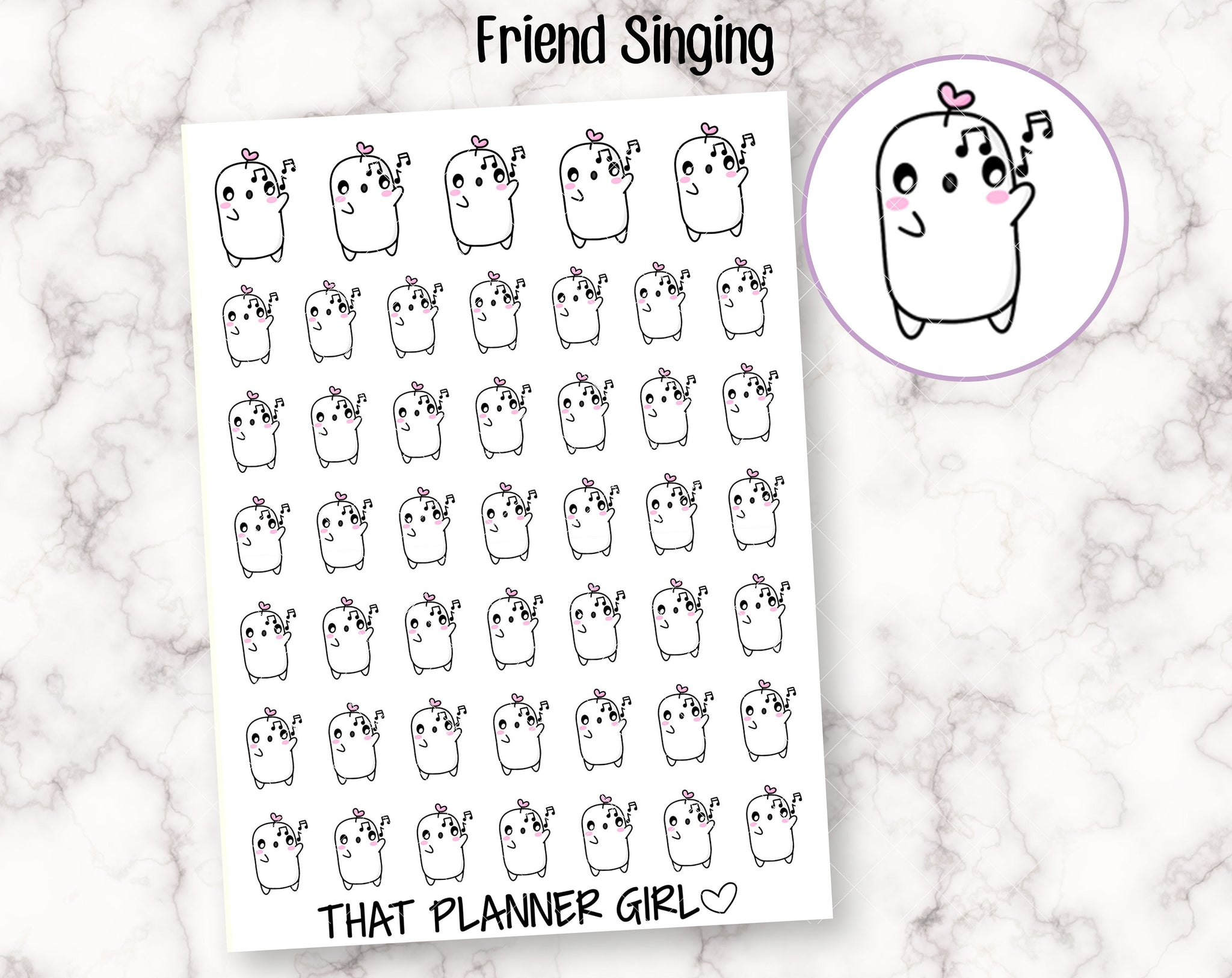 Friend Singing Stickers