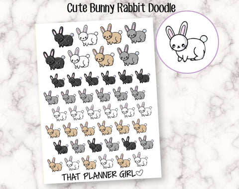 Bunny Rabbit Doodle - Perfect for pet owners, rabbit owners, vet visits, new rabbit lovers etc -Planner Stickers -Hand Drawn Doodles