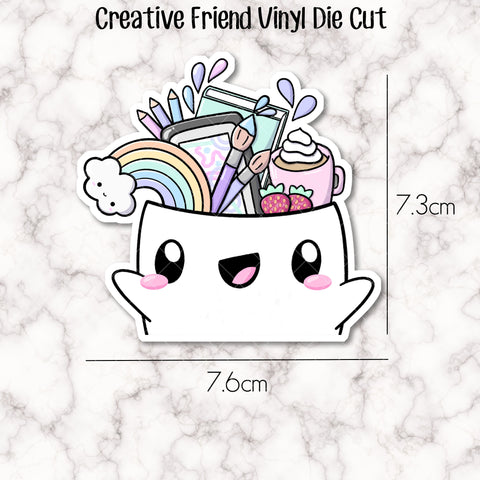 VINYL DIE CUT -  Creative Friend Doodle - perfect accessory for your planner, travellers notebook, bookmark, laptop, water bottle etc