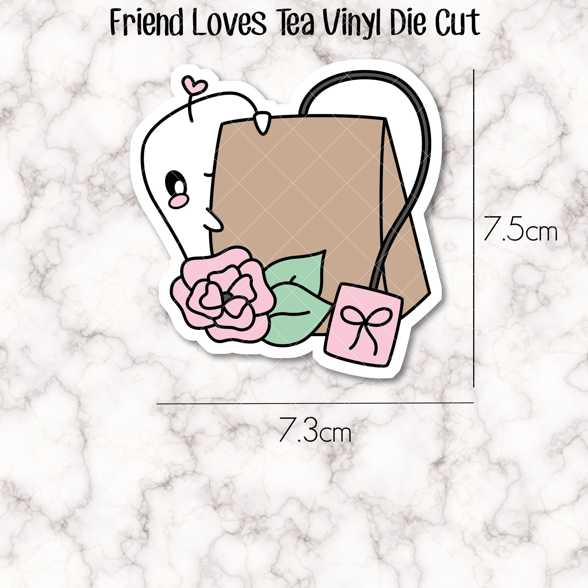 VINYL DIE CUT -  Friend Loves Tea - perfect accessory for your planner, travellers notebook, bookmark, laptop, water bottle etc