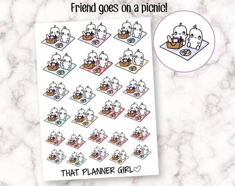 Friend and Picnic- Perfect for cute picnic lunches, summer, spring or autum activities! - Planner Stickers -Hand Drawn Doodles