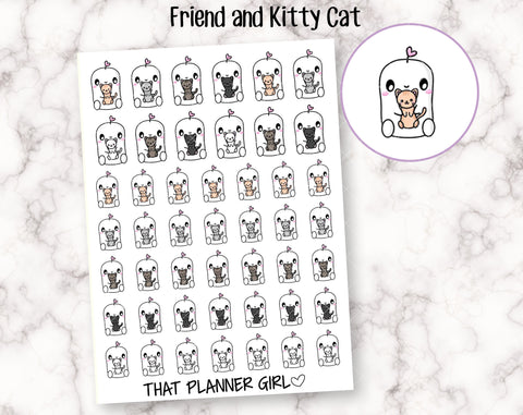 Friend and Kitty Cats - Perfect for pet care, cat lovers, kitty stickers, cat lady, new kitten owners - Planner Stickers -Hand Drawn Doodles