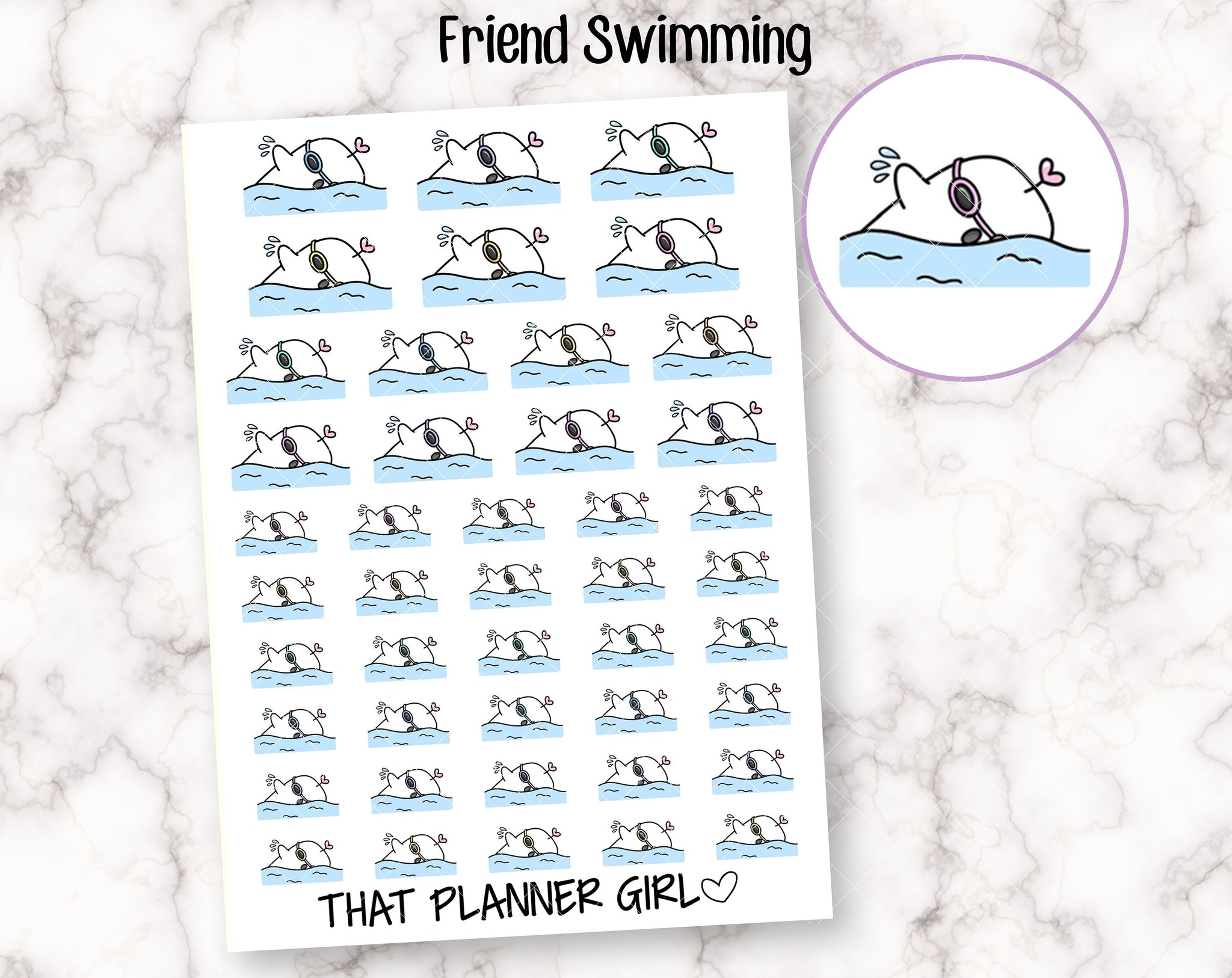 Friend and Swimming Sticker