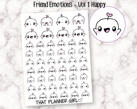 Friend Emotions - VOL 1 - Happy and Excited emotions! Good days, happy events, exciting appointments -Planner Stickers - Hand Drawn Doodles