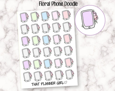 Floral Phone Doodle - Perfect for marking phone calls, long distance calls, phone bills, skype meetings -Planner Sticker -Hand Drawn Doodle