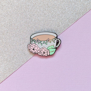 Floral Coffee Hard Enamel Pin