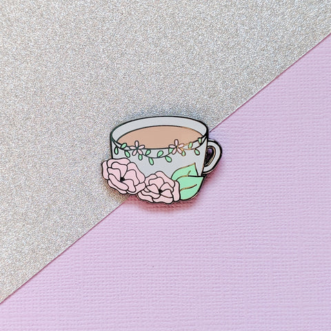 Floral Coffee Hard Enamel Pin - Gorgeous, cute, perfect for tea /hot chocolate lovers! Lapel pin, Enamel badge, flair accessory, plannergirl