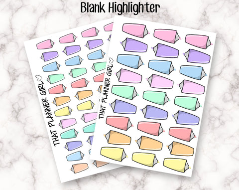 Blank Highlighter Doodle - mark study time, work, class, uni, school, drawing, college - Original Art Hand Drawn Doodle Planner Stickers
