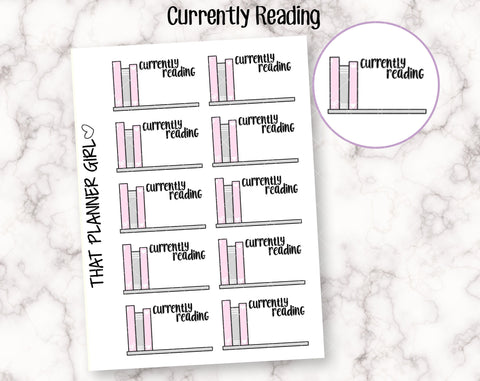 Currently Reading Bookshelf Doodle Sticker - Mark reading, currently reading, study, school, e-book etc - Hand Drawn Doodle Planner Stickers