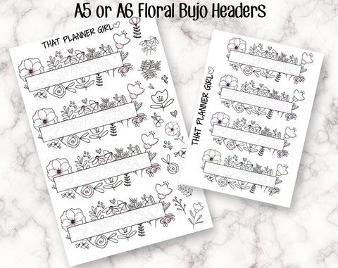Floral Bullet Journal Header Stickers - A5 / A6 Sized - Perfect to easily create a gorgeous bujo spread - Hand Drawn Doodle Planner Stickers