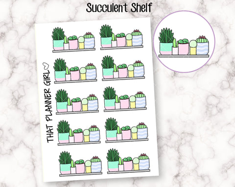Succulent Shelf Stickers